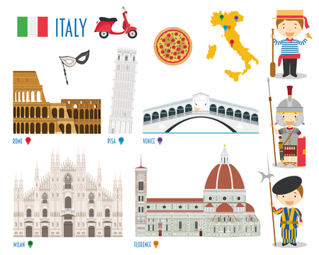 Italy Flat Icon Set Travel and tourism concept. Vector illustration
