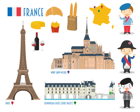 France Flat Icon Set Travel and tourism concept. Vector illustration Stock Illustratie