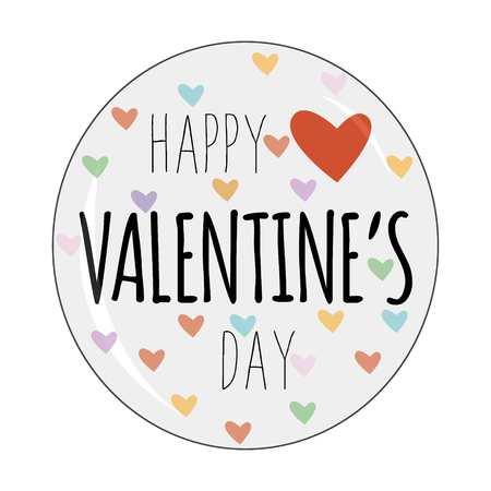 Happy Valentine´s Day badge logo. Vector Illustration with typography and hearts. Isolated on white
