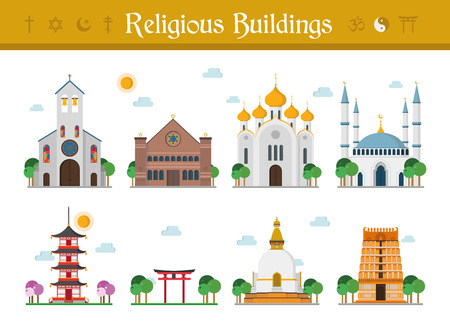 Set of Religious Buildings Vector Illustration: Catholicism, Judaism, Orthodox Church, Islamism, Buddhism, Taoism and Hinduism.