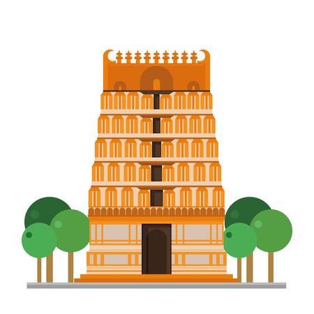 hinduist: Cute cartoon vector illustration of a Hinduist Temple