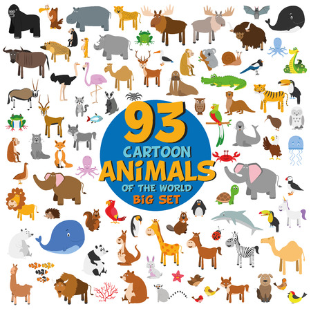 Big set of 93 cute cartoon animals of the world. Vector illustration isolated on white. Icon set. Stock Illustratie
