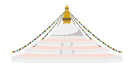 Boudhanath Stupa, Kathmandu, Nepal. Isolated on white background vector illustration.