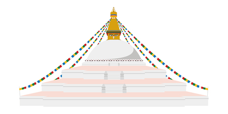 Boudhanath Stupa, Kathmandu, Nepal. Isolated on white background vector illustration.