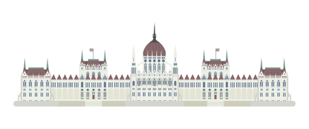 iconic architecture: Budapest Parliament, Hungary. Isolated on white background vector illustration.