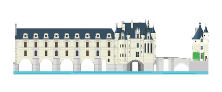 シュノンソー城、ロワール渓谷、フランス。白い背景のベクトル図に分離されました。