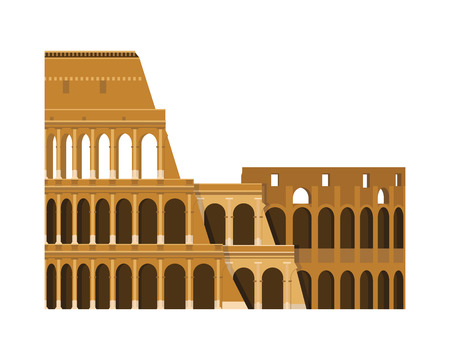 Colosseum, Rome, Italy. Isolated on white background vector illustration.