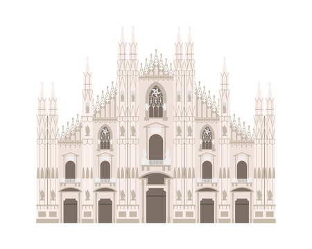 Milan Cathedral, Italy. Isolated on white background vector illustration.