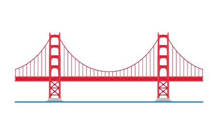 Golden Gate Bridge, San Francisco, Stati Uniti d'America. Isolato sull'illustrazione bianca di vettore del fondo. Archivio Fotografico - 74916199