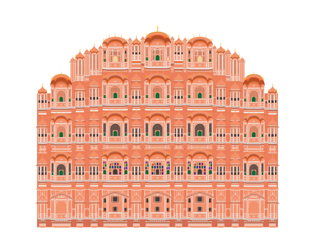 Hawa Mahal, Jaipur, India. Isolated on white background vector illustration.