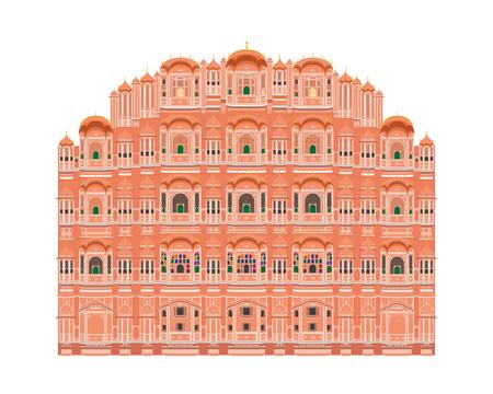 Hawa Mahal, Jaipur, India. Isolated on white background vector illustration.