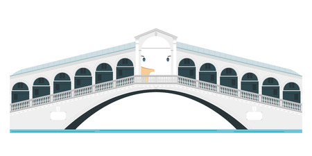 rialto: Rialto Bridge, Venice, Italy. Isolated on white background vector illustration. Illustration