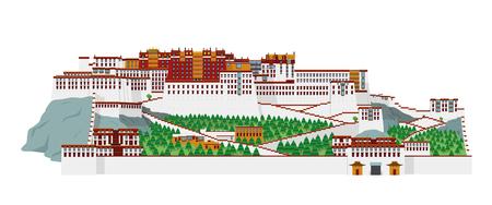 Potala Palace, Lasha (Tibet), China. Isolated on white background vector illustration.