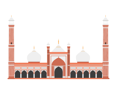 Red Fort, Delhi, India. Isolated on white background vector illustration.
