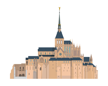 iconic architecture: Mount Saint Michel, France. Isolated on white background vector illustration.