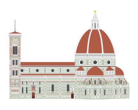 Santa Maria dei Fiore, Florence, Italy. Isolated on white background vector illustration.