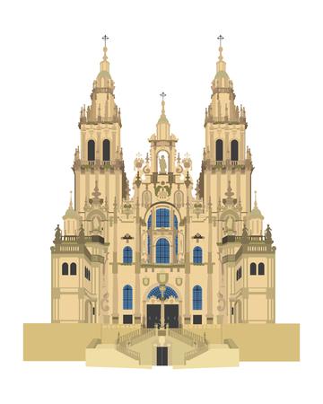 Santiago de Compostela kathedraal, Spanje. Geïsoleerd op witte achtergrond vector illustratie. Stockfoto - 74916212