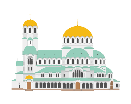 Sofia Cathedral, Bulgaria. Isolated on white background vector illustration.