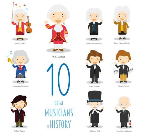 Kids Vector Characters Collection: Set of 10 Great Musicians of History in cartoon style. Stock Vector - 75572558