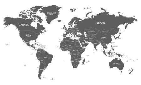 Polityczna mapa świata ilustracji wektorowych samodzielnie na białym tle. Edytowalne i wyraźnie oznakowane warstwy. Ilustracje wektorowe