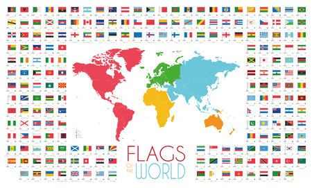 204 world flags with world map by continents Illustration