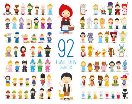 Coleção de personagens de vetor de crianças: conjunto de 92 personagens de contos clássicos em estilo cartoon Ilustración de vector