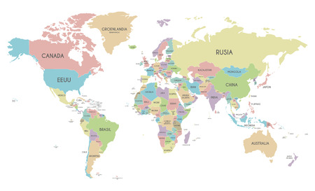 World Map With Country Names Stock Photos Royalty Free World Map - World map political with country names