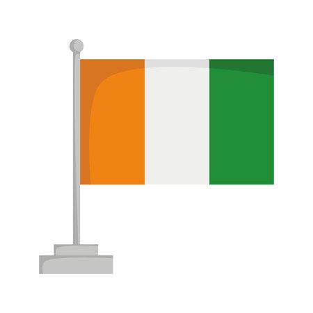 National flag of Ivory Coast Vector Illustration