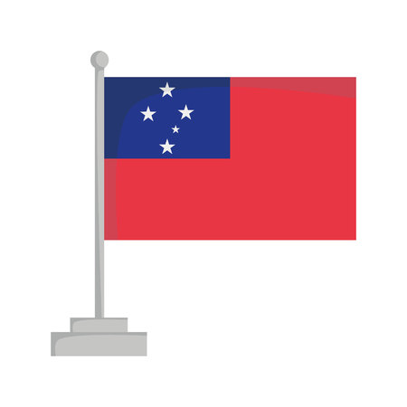 National flag of Samoa Vector Illustration Çizim