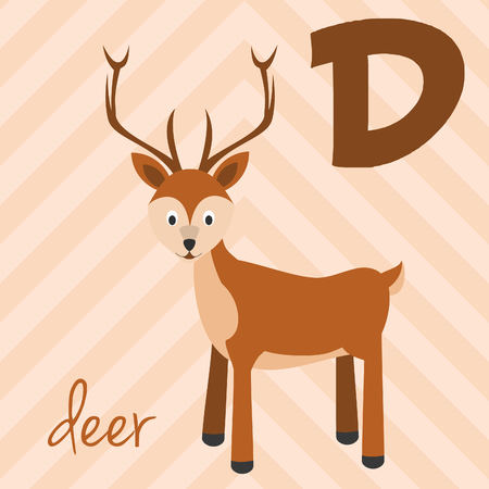Cute cartoon zoo illustrated alphabet with funny animals: D for Deer. English alphabet. Learn to read. Isolated Vector illustration. Illustration