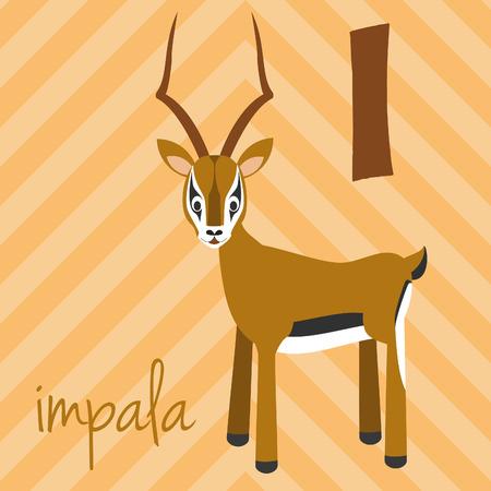 Cute cartoon zoo illustrated alphabet with funny animals: I for Impala. English alphabet. Learn to read. Isolated Vector illustration. Illustration