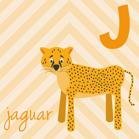 Cute cartoon zoo illustrated alphabet with funny animals: J for Jaguar. English alphabet. Learn to read. Isolated Vector illustration. Vettoriali