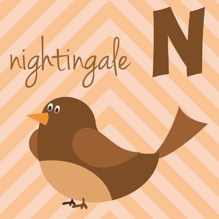Leuke cartoon dierentuin geïllustreerd alfabet met grappige dieren: N voor Nightingale. Engelse alfabet. Leren lezen. Geïsoleerde vectorillustratie.