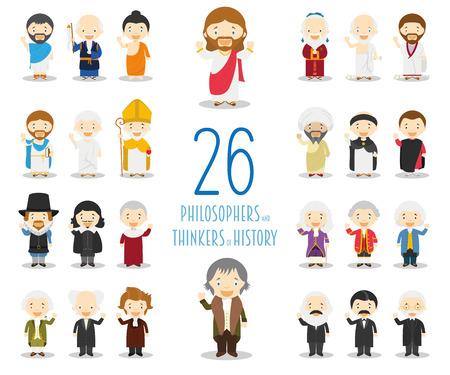 Coleção de personagens de vetor de crianças: conjunto de 26 grandes filósofos e pensadores da história em estilo cartoon. Ilustración de vector