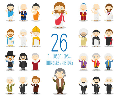Kids vector characters collection: Set of 26 Great Philosophers and Thinkers of History in cartoon style.
