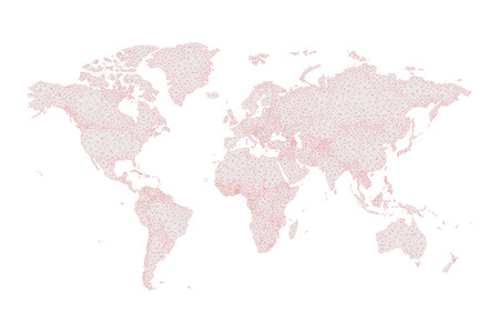 low poly world map on grey and red vector