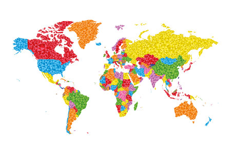 Low Poly World Map with countries on different colors  イラスト・ベクター素材