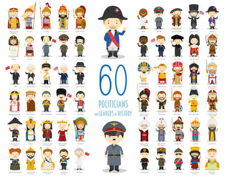Kids Vector Characters Collection: Set of 60 relevant Politicians and Leaders of History in cartoon style. Çizim