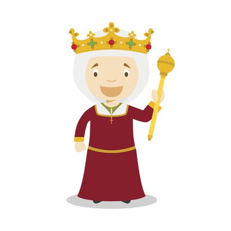 Isabella I of Castile (The Catholic) cartoon character. Vector Illustration. Kids History Collection. Illustration