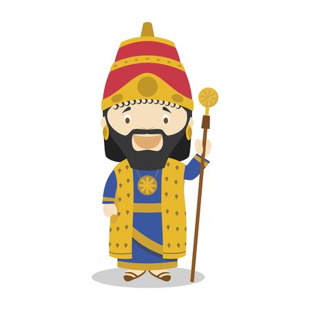 Nabucodonosor II cartoon character. Vector Illustration. Kids History Collection.