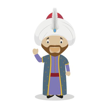 Sultan Mehmed II (The Conqueror) stripfiguur. Vector illustratie Kids History Collection. Vector Illustratie