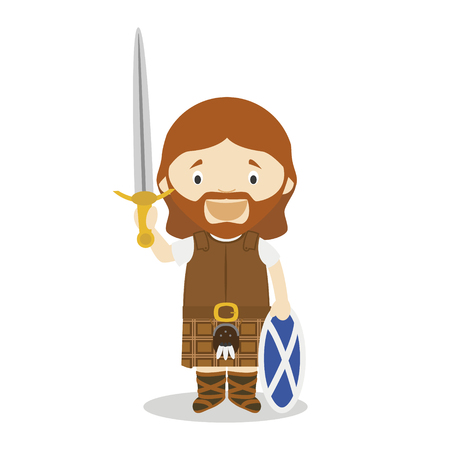 William Wallace cartoon character. Vector Illustration. Kids History Collection. Ilustração