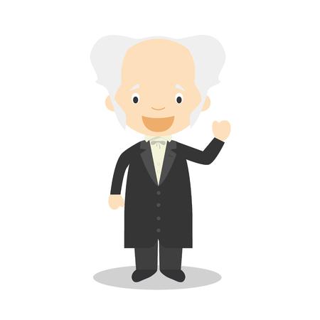 Arthur Schopenhauer cartoon character. Vector Illustration. Kids History Collection.  イラスト・ベクター素材