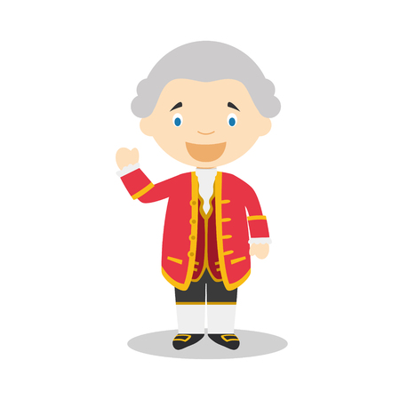 David Hume stripfiguur. Vector illustratie Kids History Collection.