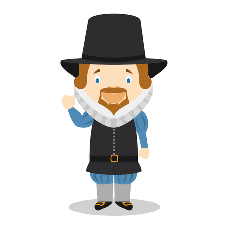 Francis Bacon cartoon character. Vector Illustration. Kids History Collection  イラスト・ベクター素材