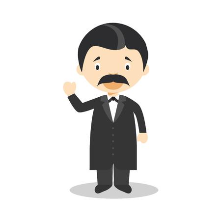 Friedrich Nietzsche cartoon character. Vector Illustration. Kids History Collection. 向量圖像
