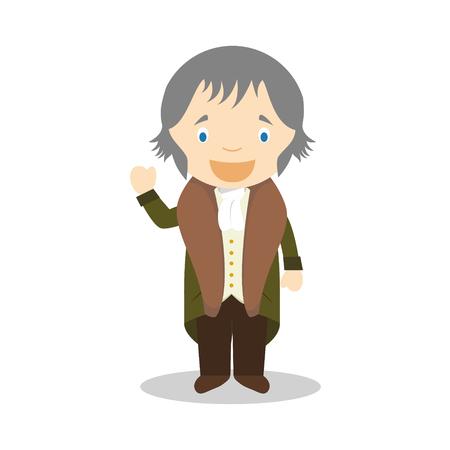 Friedrich Hegel cartoon character. Vector Illustration. Kids History Collection.