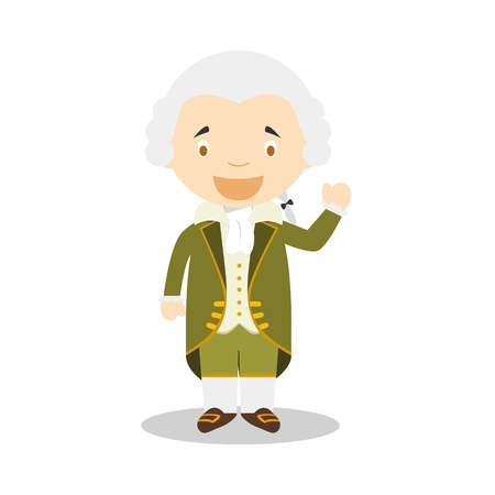 Immanuel Kant cartoon character. Vector Illustration for Kids History Collection.