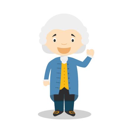 Personaggio dei cartoni animati di Jean-Jacques Rousseau. Illustrazione vettoriale Collezione di storia per bambini. Archivio Fotografico - 97413344