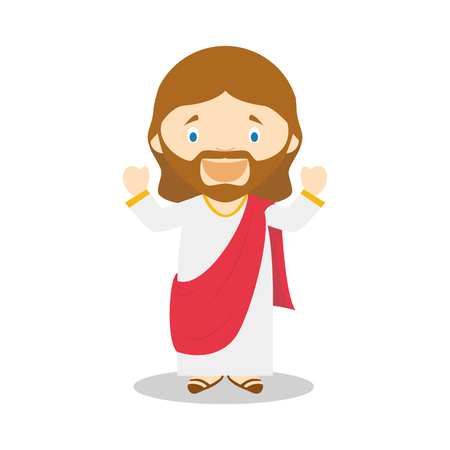 Jesus of Nazareth cartoon character. Vector Illustration. Kids History Collection.